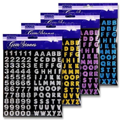 Icon Craft Gem Stones Numbers & Letters 4 Asst.