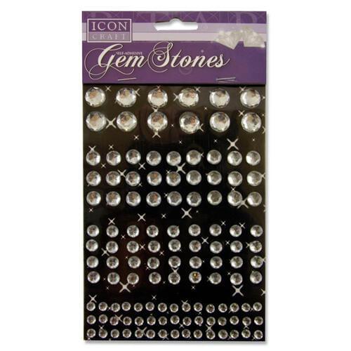 Icon Craft Pack of 120 Self Adhesive Gem Stones - White