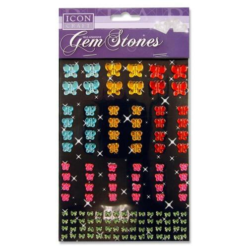 Icon Craft Pack of 120 Self Adhesive Gem Stones - Butterfly Asst.