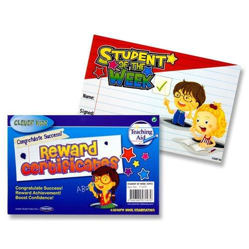Clever Kidz Pack of 25 Reward Certificates - Student Of The Week