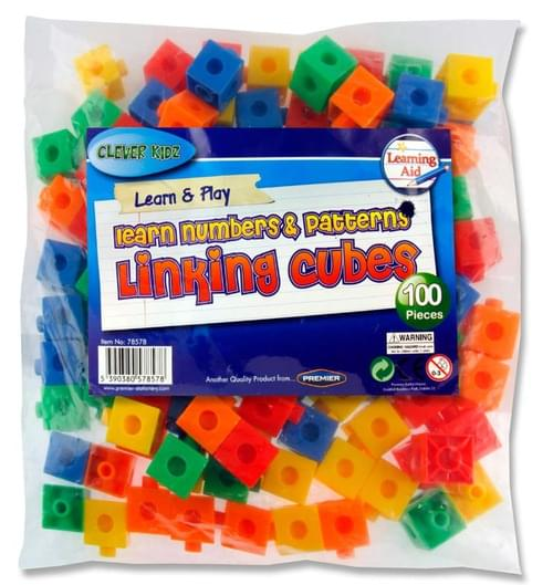 Clever Kidz Bag 100 Coloured Linking Cubes