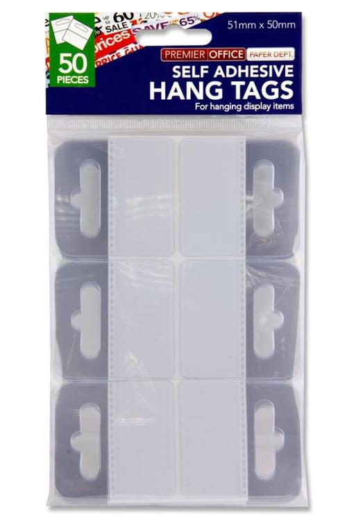 Premier Office Pack of 50 51X50Mm Adhesive Euro Hole Hang Tags