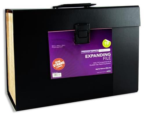 Premier Office 19 Pocket Expanding File - Black