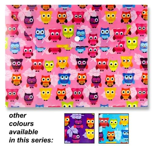 Premier A4 Pp Document Button Wallet - Owl 3 Asst.