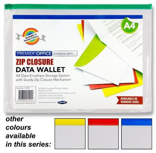 Premier Office A4 Data Envelope W/Zipper 4 Colours Available.