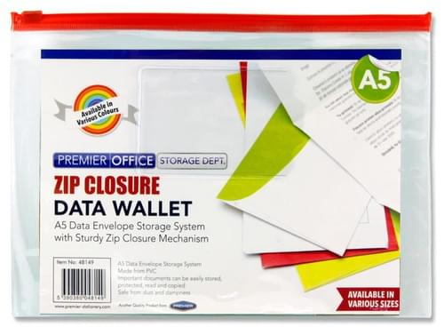 Premier Office A5 Data Envelope W/Zipper 4 Asst.