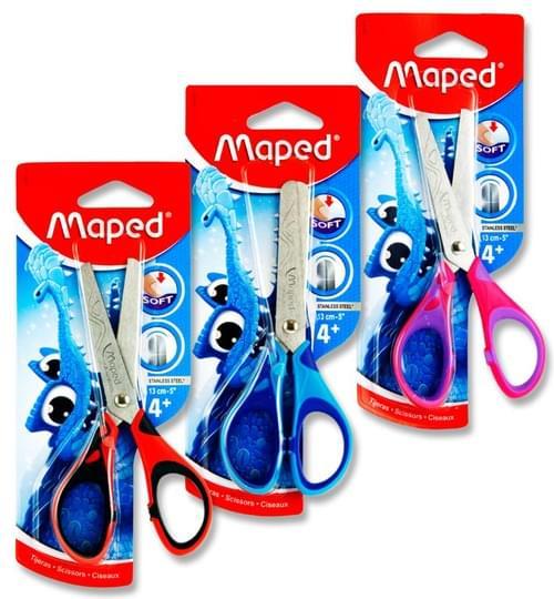 "Maped Essentials 13Cm/5"" Soft Grip Scissors 3 Asst."