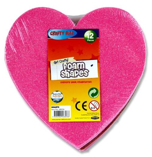 Crafty Bitz Pack of 12 Foam Shapes - Glitter & Plain Hearts