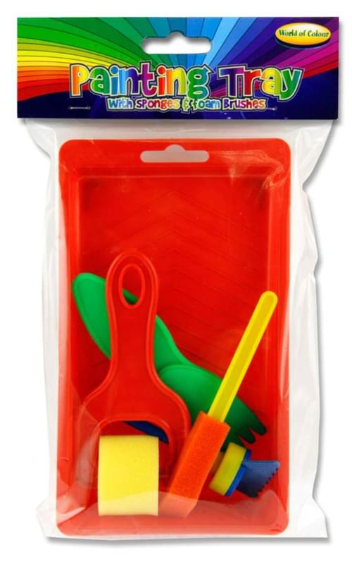 Woc Painting Tray With Sponges & Foam Brushes