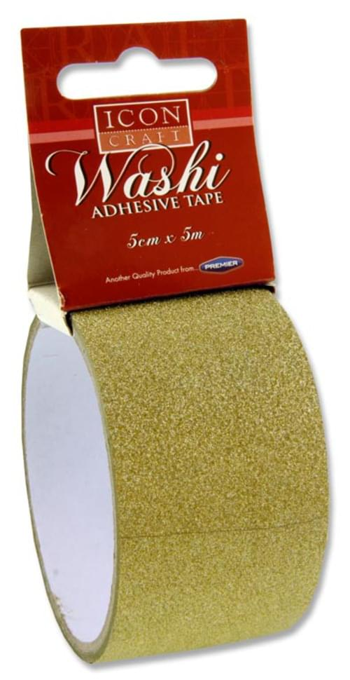 Icon Craft 5M X 5Cm Washi Tape - Gold Glitter