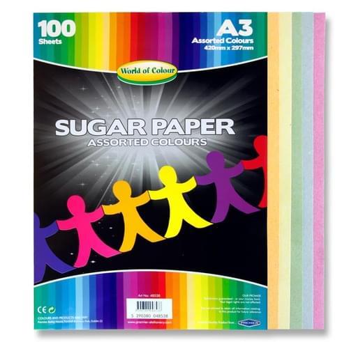Woc A3 Sugar Paper 100 Sheets - Coloured