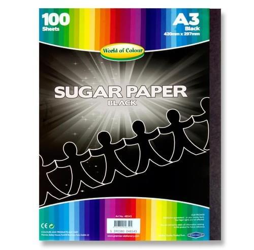 Woc A3 Sugar Paper 100 Sheets - Black