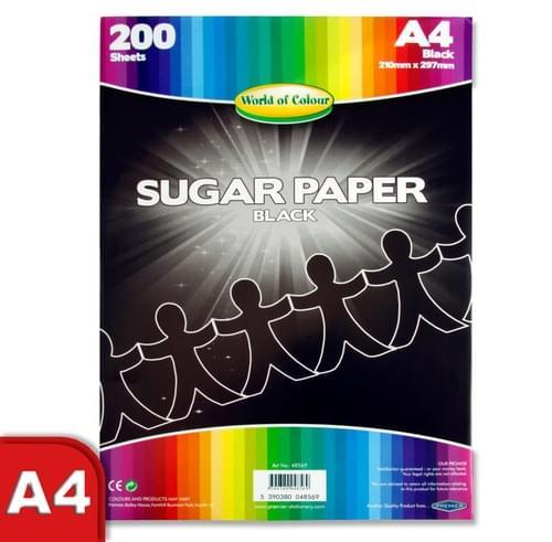 Woc A4 Sugar Paper 200 Sheets - Black