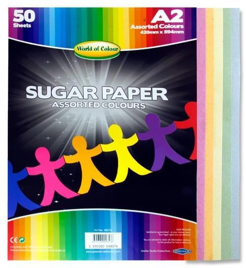 Woc A2 Sugar Paper 50 Sheets - Coloured