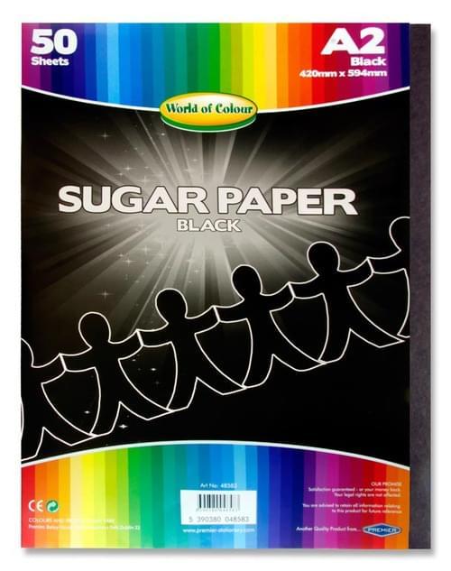 Woc A2 Sugar Paper 50 Sheets - Black