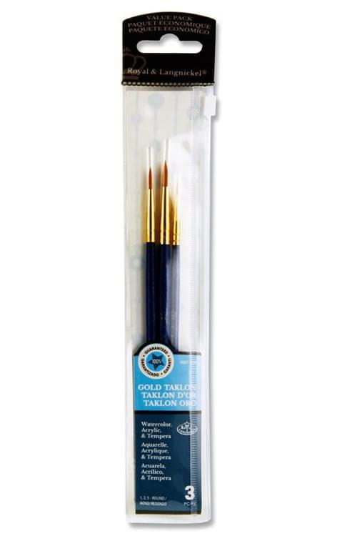 3Pce Brush Set In Wallet - Gold Taklon Round