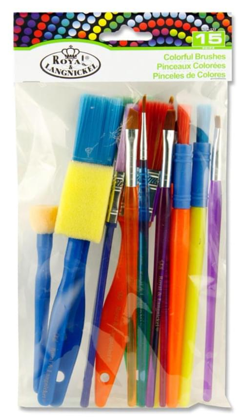 Pack of 15 Colourful Brushes Set