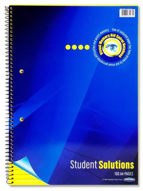 Student Solutions A4 160Pg Visual Memory Aid Spiral - Lemon