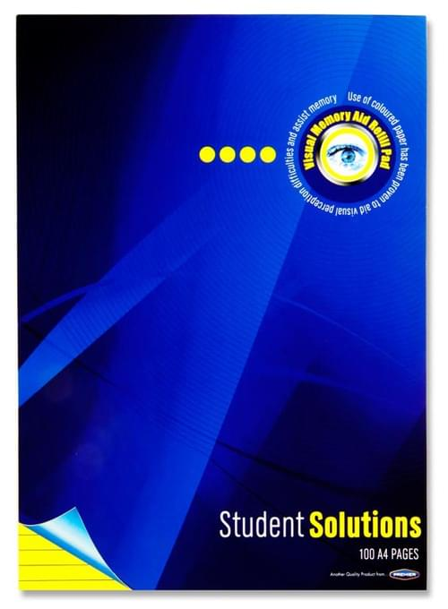 Student Solutions A4 100Pg Visual Memory Aid Refill Pad - Yellow