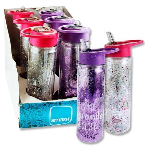 Smash 500Ml Glitter Twin Wall Bottle 2 Asst