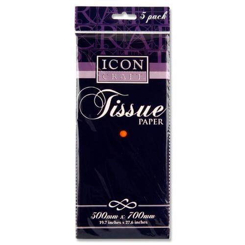Icon Craft Pack of 5 500X700Mm Tissue Paper - Orange