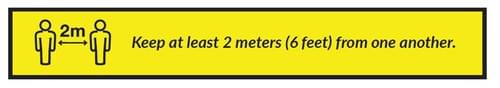 Keep At Least 2m From One Another - Floor Sticker - Own Manufacturer - STRIP2 - McArdle Computer & Office Supplies