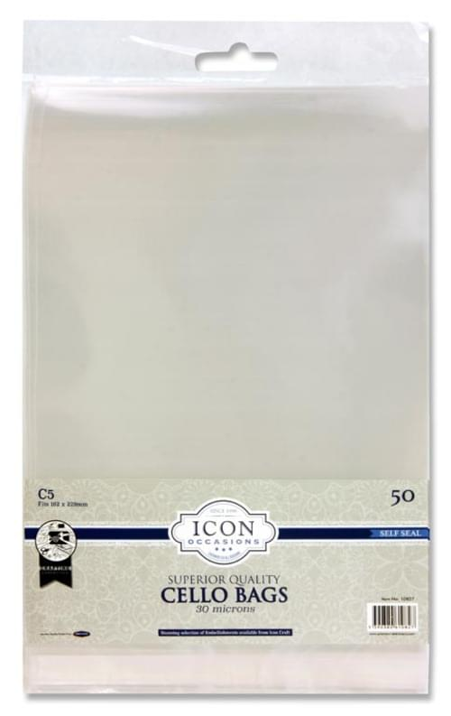 Icon Occasions Pack of 50 C5 Self Seal Cello Bags