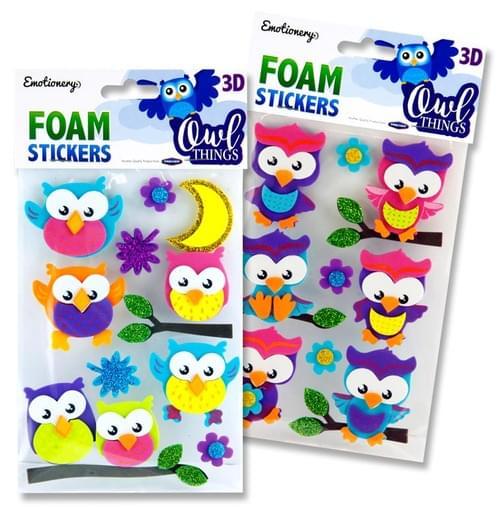 Emotionery 3D Foam Stickers - Owl Things 2 Asst.