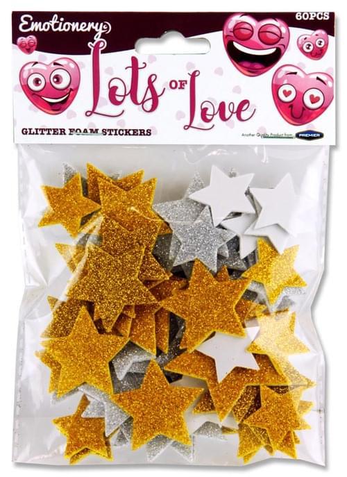 Emotionery Pack of 60 Glitter Foam Stickers - Lots Of Love Stars