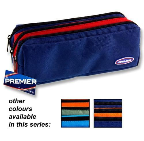 Premier 3 Pocket Zip Pencil Case - 3 Colour 3 Asst