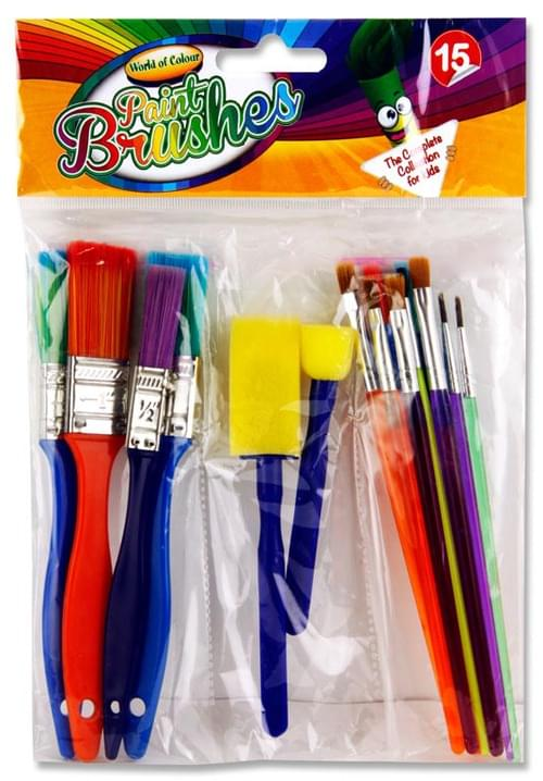 Woc Pack of 15 Colourful Paint Brushes & Sponges Set