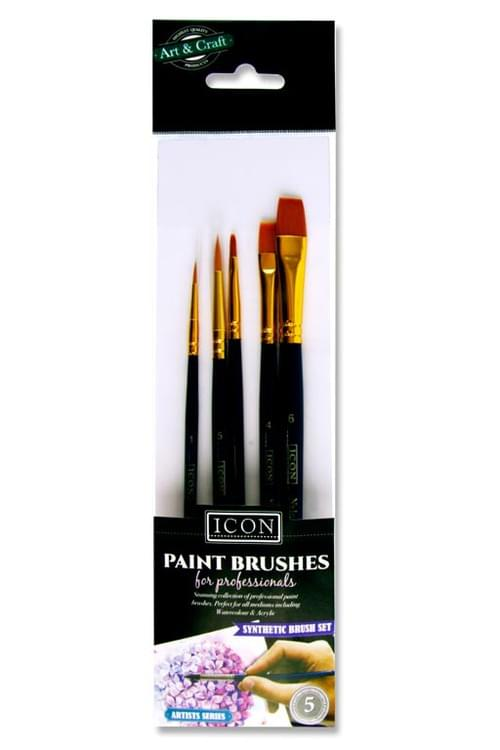Icon Pack of 5 Paintbrush Set - Synthetic