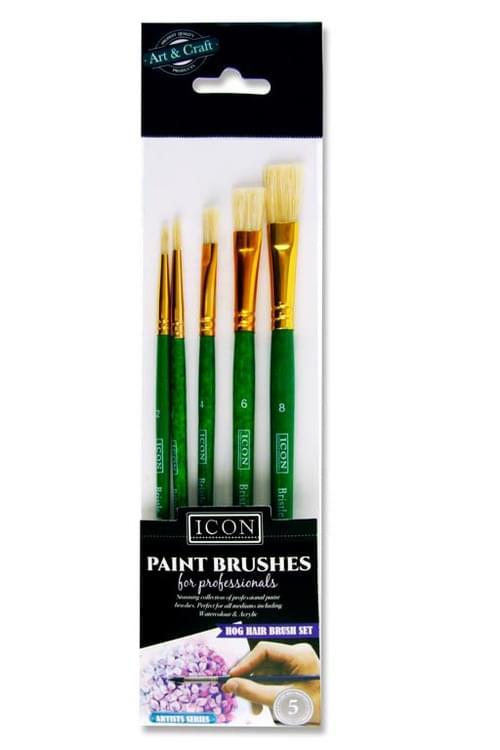 Icon Pack of 5 Paintbrush Set - Hog Hair