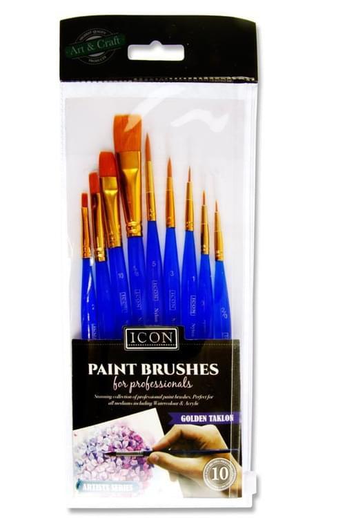 Icon 10Pce Brush Set - Golden Taklon Ultra Short