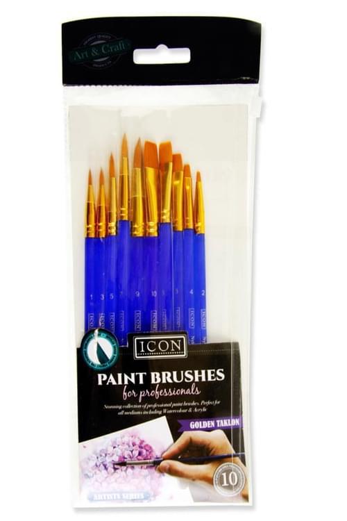 Icon 10Pce Brush Set - Golden Taklon Beveled Edge