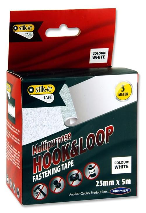 Stik-Ie 5M X 25Mm Roll Multipurpose Hook & Loop Fastening Tape - White