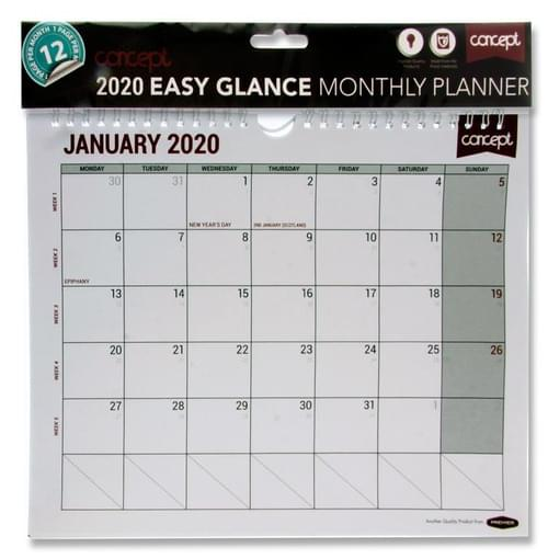 Concept 2020 Easy Glance Monthly Planner