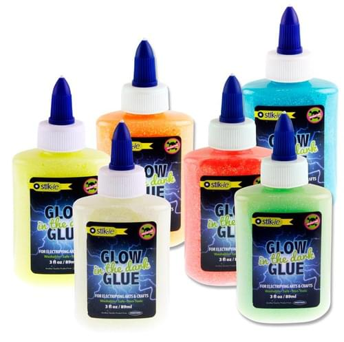 Stik-Ie 89Ml Glow In The Dark Glitter Glue 6 Asst.