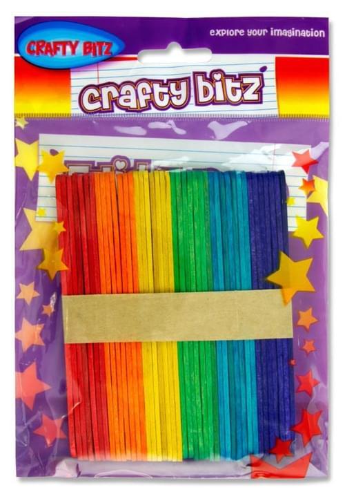 Crafty Bitz Pack of 42 Coloured Lollipop Sticks