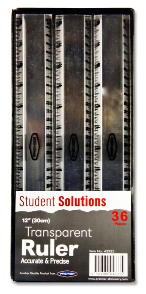 "Student Solutions 12""/30Cm Transparent Ruler"