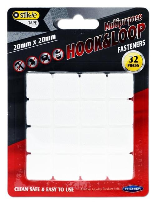 Stik-Ie Card 32 20X20Mm Hook & Loop Velcro Fasteners
