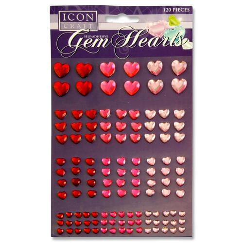 Icon Craft Pack of 120 Self Adhesive Gem Hearts 3 Asst.