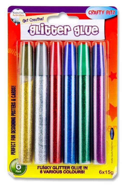 Crafty Bitz Card 6X15G Glitter Glue