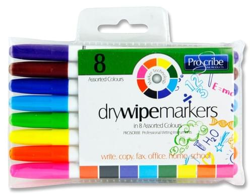 Pro:Scribe Pack of 8 Dry Wipe Whiteboard Markers - Multiple Colours Available