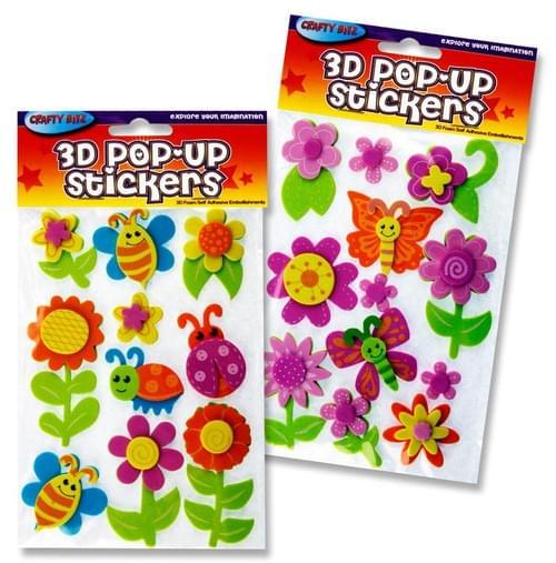 Crafty Bitz 3D Pop Up Foam Stickers - Flowers 2 Asst.