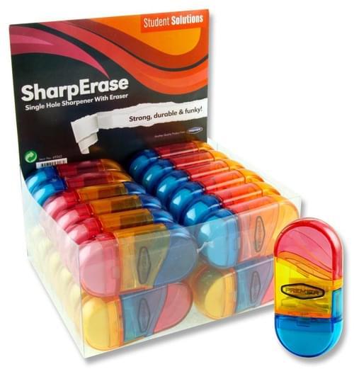 Student Solutions Single Hole Sharperase Sharpener & Eraser 3 Asst.