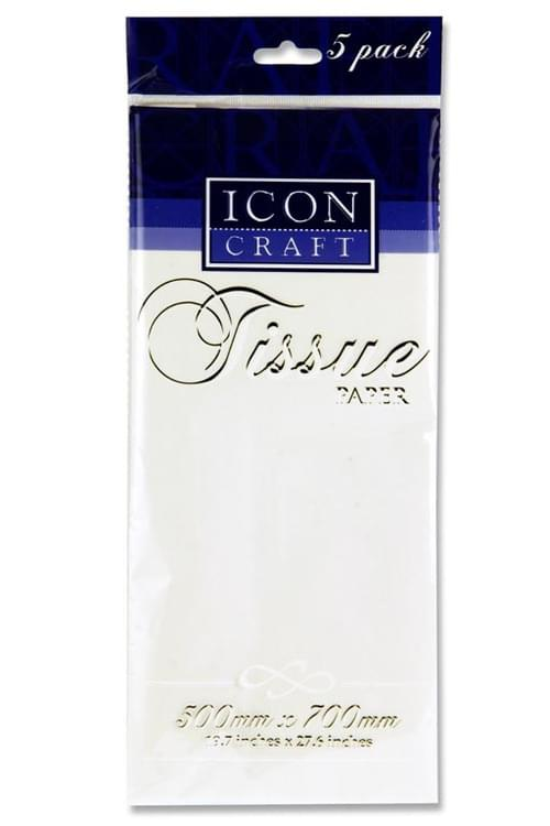 Icon Craft Pack of 5 500X700Mm Tissue Paper - White