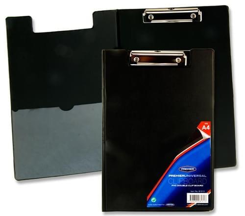 Premier Universal Pvc Double Foldover Clip Board - Black