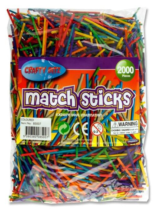 Crafty Bitz Bag 2000 Matchsticks - Coloured