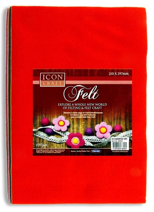 Icon Craft Pack of 10 A4 Felt Sheets - Asst